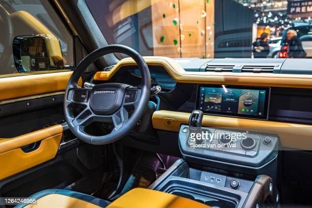 Land Rover Defender 110 off-road 4x4 vehicle interior on display at Brussels Expo on January 9, 2020 in Brussels, Belgium. The all new Land Rover...