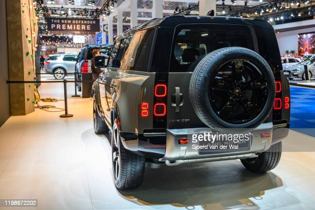 Land Rover Defender 110 offroad 4x4 vehicle on display at Brussels Expo on JANUARY 09 2020 in Brussels Belgium The all new Land Rover Defender is...