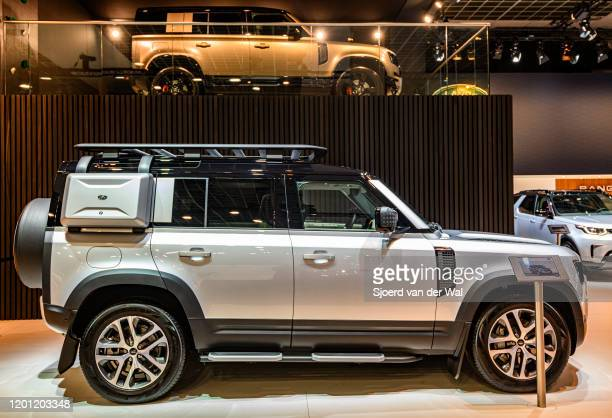 Land Rover Defender 110 off-road 4x4 vehicle on display at Brussels Expo on January 9, 2020 in Brussels, Belgium. The all new Land Rover Defender is...