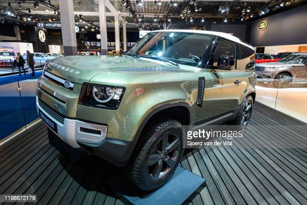 Land Rover Defender 90 offroad 4x4 vehicle on display at Brussels Expo on JANUARY 09 2020 in Brussels Belgium The all new Land Rover Defender is...