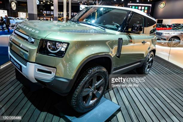 Land Rover Defender 90 offroad 4x4 vehicle on display at Brussels Expo on January 9 2020 in Brussels Belgium The all new Land Rover Defender is...