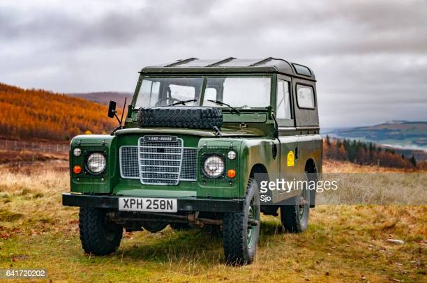 Land Rover Defender in the Scottish Highlands during Autumn