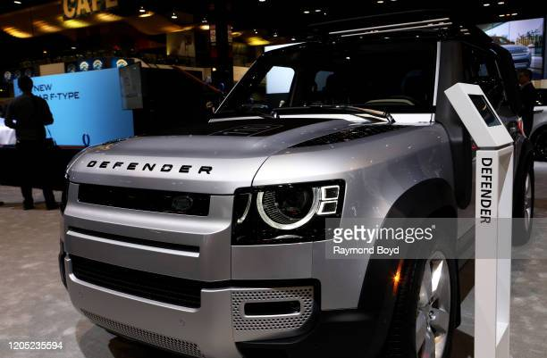 """Land Rover Defender is on display at the 112th Annual Chicago Auto Show at McCormick Place in Chicago, Illinois on February 6, 2020. """"n"""