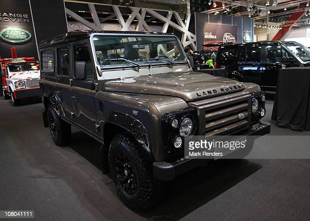 Land Rover Defender is shown at the Professional Vehicles Fair at Heysel on January 14, 2011 in Brussels, Belgium.