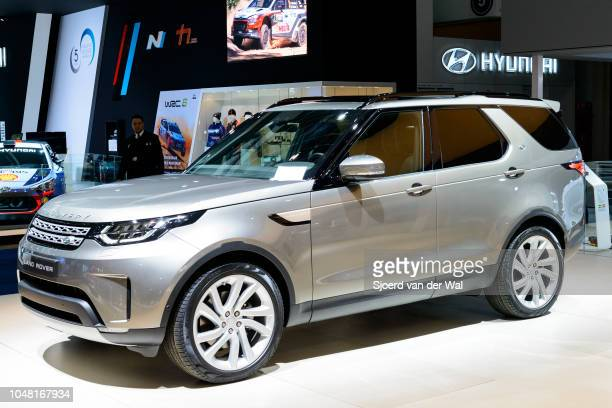 Land Rover Discovery crossover SUV front view on display at Brussels Expo on January 13 2017 in Brussels Belgium The Discovery is produced by British...