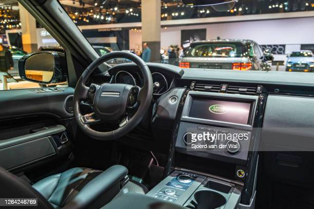 Land Rover Discovery luxury offroad SUV interior on display at Brussels Expo on January 9, 2020 in Brussels, Belgium.The car is equipped with a large...