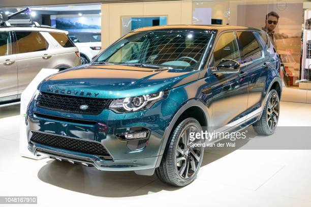 Land Rover Discovery Sport compact crossover SUV front view on display at Brussels Expo on January 13, 2017 in Brussels, Belgium. The Discovery Sport...