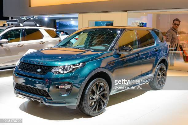 Land Rover Discovery Sport compact crossover SUV front view on display at Brussels Expo on January 13 2017 in Brussels Belgium The Discovery Sport is...