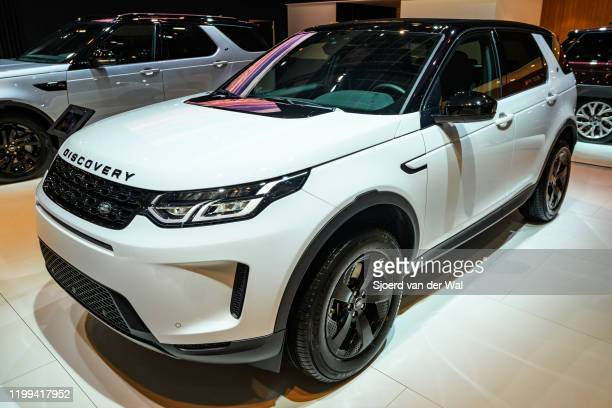 Land Rover Discovery Sport crossover SUV on display at Brussels Expo on January 9, 2020 in Brussels, Belgium. The Discovery Sport is available with a...