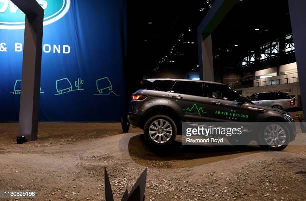 Land Rover Discovery Sport performs during the 'Land Rover Drive Experience' at the 111th Annual Chicago Auto Show at McCormick Place in Chicago...