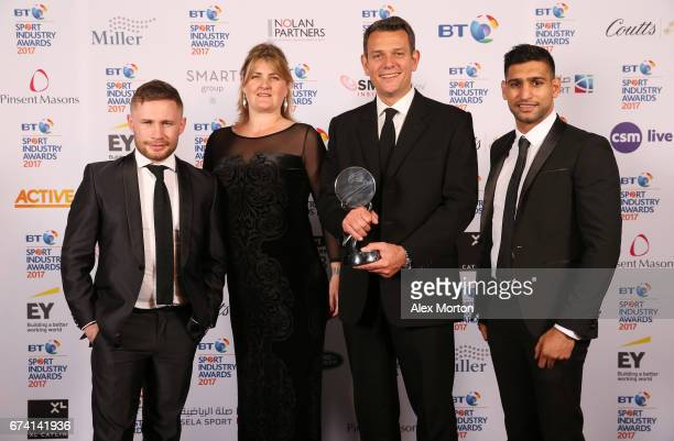 Land Rover Land Rover BAR Above Beyond pose with the Team or Individual Sponsorship of the Year award and Carl Frampton and Amir Khan during the BT...