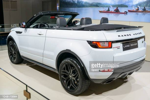 Land Rover Range Rover Evoque Convertible or just Range Rover Evoque Convertible compact SUV rera view on display at Brussels Expo on January 13 2017...