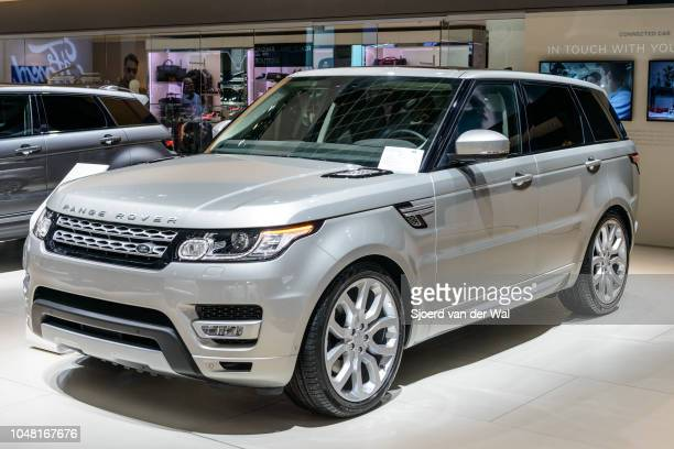 Land Rover Range Rover Sport or just Range Rover Sport midsize SUV front view on display at Brussels Expo on January 13 2017 in Brussels Belgium This...