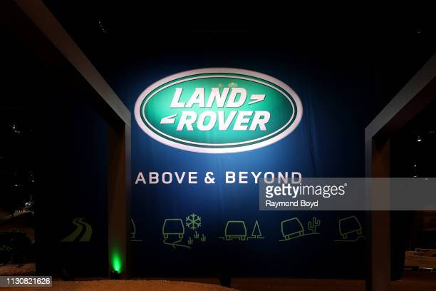 Land Rover signage is on display at the 111th Annual Chicago Auto Show at McCormick Place in Chicago Illinois on February 8 2019