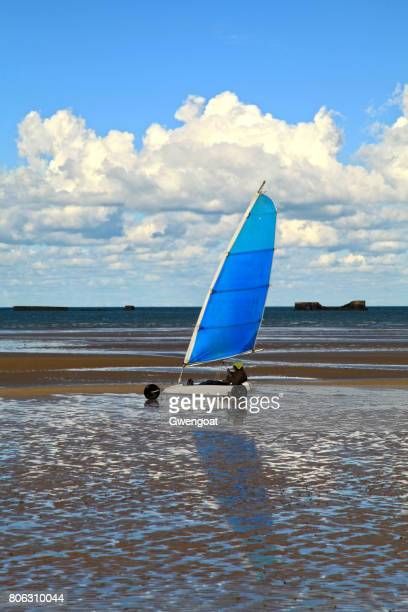 land sailing on gold beach - arromanches stock pictures, royalty-free photos & images