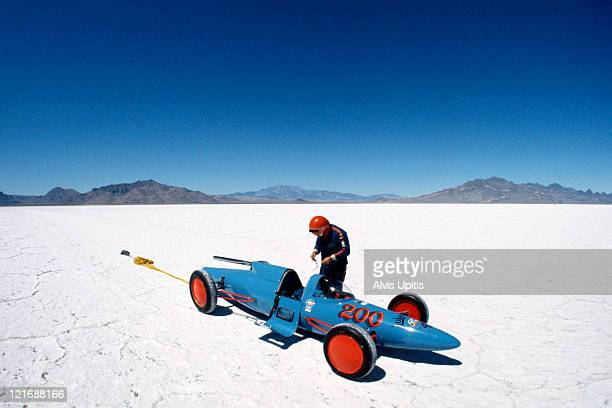 A land speed racer after making a run during Speed Week on the Bonneville Salt Flats in August 1974 near Wendover Utah