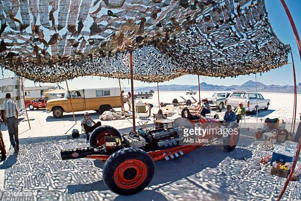 A land speed racer sheltered from the sun during Speed Week on the Bonneville Salt Flats in August 1974 near Wendover Utah