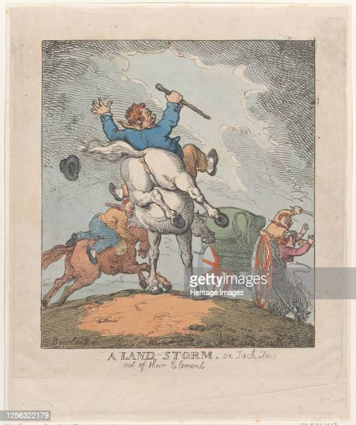 A Land Storm or Jack Tars Out of Their Element 17901815 Artist Thomas Rowlandson