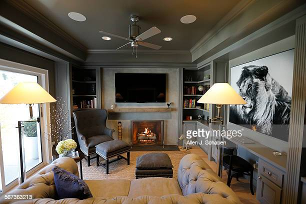 """Landau wanted a """"sophisticated man cave"""" where he could relax The tufted linen couch is from Restoration Hardware#13#10Drybar cofounder Michael..."""