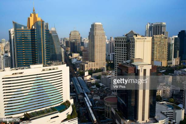 Landcape views of Sukhumvit Road sky train Westin Sheraton and skyscrapers from Sofitel Bangkok Sukhumvit Bangkok Thailand