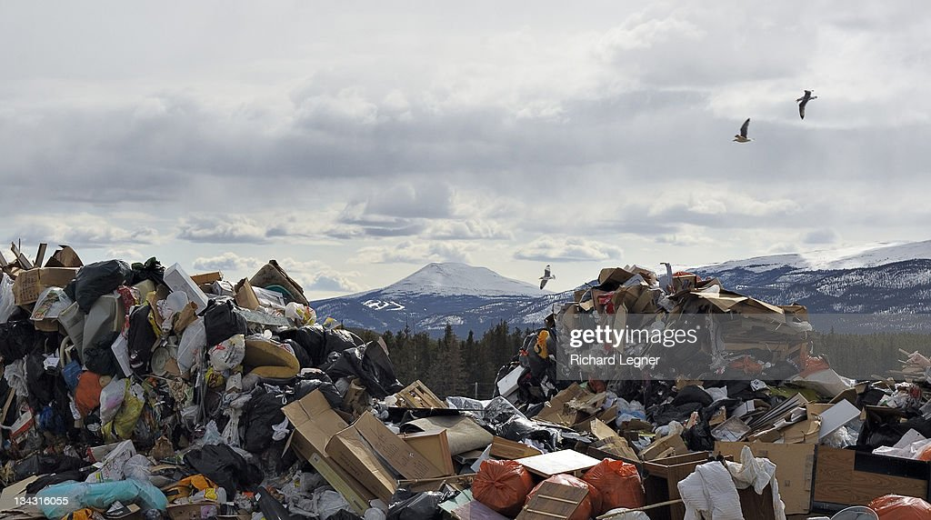 Landfill and Mountain : Stock Photo