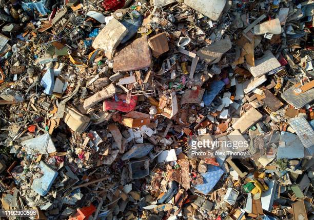 landfill background, personal waste dump view from above - ゴミ捨て場 ストックフォトと画像