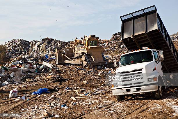 landfill with dump truck
