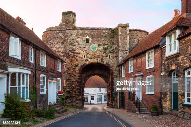 landgate arch, rye, east sussex, england - rye stock photos and pictures