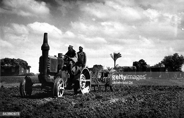 Landgewinnung nach der Bodenreform von1956 Bauern einer landwirtschaftlichenGenossenschaft bearbeiten mit einemTraktor ein Feld 1956