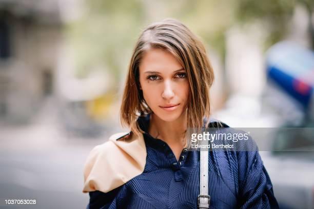 Landiana Cerciu is seen during London Fashion Week September 2018 on September 14 2018 in London England