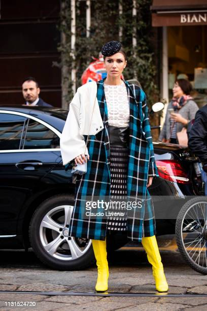 Landiana Cerciu is seen outside Blumarine on Day 3 Milan Fashion Week Autumn/Winter 2019/20 on February 22 2019 in Milan Italy
