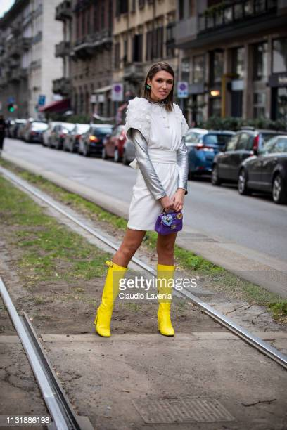 Landiana Cerciu is seen outside Dolce Gabbana on Day 5 Milan Fashion Week Autumn/Winter 2019/20 on February 24 2019 in Milan Italy