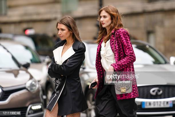 Landiana Cerciu wears a black jacket with white and black embroideries and white and black lapels, glittering see-through black mesh pants ; Julie...