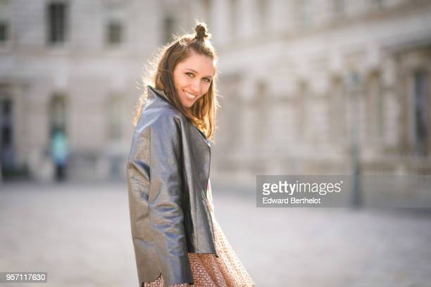 Landiana Cerciu wears a leather jacket during London Fashion Week February 2018 on February 16 2018 in London England