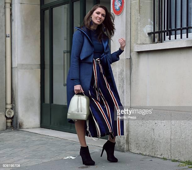 Landiana Yolo on the street during the Paris Fashion Week.