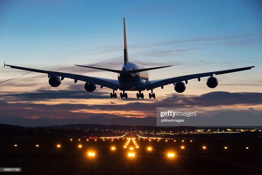 Landing airplane : Stock Photo