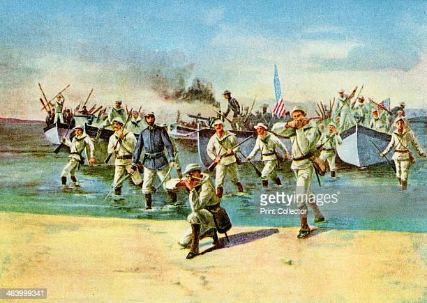 Landing ammunition for the insurgents under fire SpanishAmerican War Cuba 1898 US Navy sailors bringing supplies of ammunition ashore for Cubans...