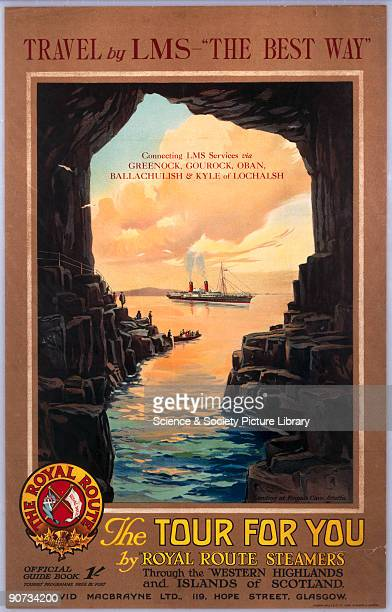 Landing at Fingal's Cave Staffa LMS poster c1920s Poster produced for the London Midland Scottish Railway and David Macbrayne Steamers Ltd...