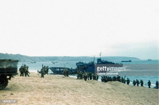Landing Craft Infantry of the US Coast Guard during training exercise Fabius at Slapton Sands Devon 3rd 9th May May 1944 Coast Guardmanned LCI 85 was...
