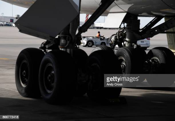 Landing gear of the iconic Boeing 747 parked at the United's Bconcourse at Denver International Airport October 26 2017 United's Boeing 747 fleet is...