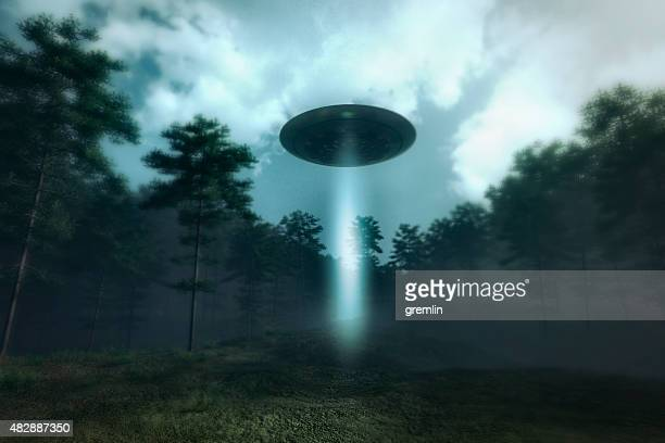 ovni landing na floresta meadow - disco voador - fotografias e filmes do acervo