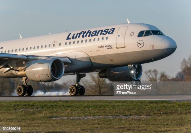 Landing Lufthansa passenger aircraft with smoking tires