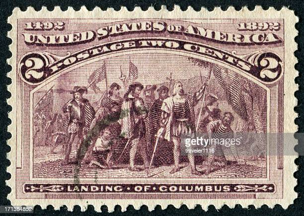 landing of columbus stamp - christopher columbus explorer stock photos and pictures