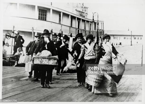 Landing of immigrants from Europe, Ellis Island New York, United States of America, 20th century.