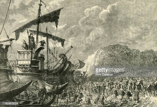 'Landing of Julius Caesar in Britain' 1890 From Cassell's Illustrated Universal History Vol II Rome by Edmund Ollier [Cassell and Company Limited...