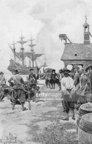 Landing of Negroes at Jamestown from a Dutch Manofwar 1619 In this image the Dutch sailors who have captured slaves from a Spanish ship are...
