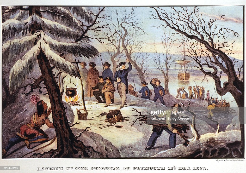 of the Fathers at Plymouth Rock Historic Scene Blue and White ...