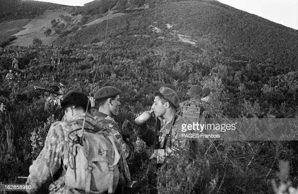 Landing On A Beach In Algeria Of 'Green Berets' Of The Navy Commando 'The Trepel'. A l'aube du 26 mars, une flottille de canots pneumatiques...