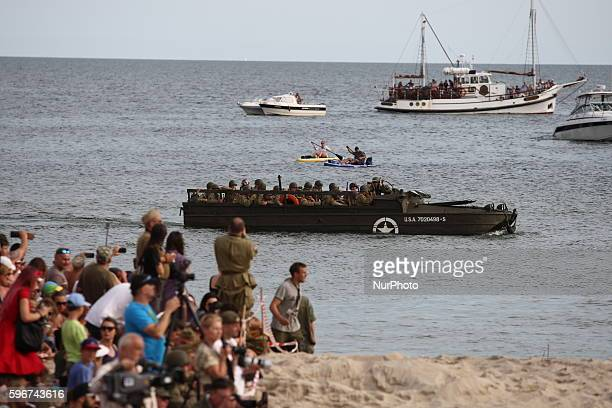 Landing on Omaha Beach reenactment during the DDay Hel on August 28 2016 in Hel Poland DDay Hel is an event organized by the Foundation of Historical...