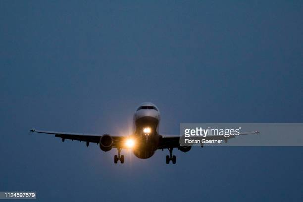 A landing plane is pictured near the Airport Tegel on February 12 2019 in Berlin Germany